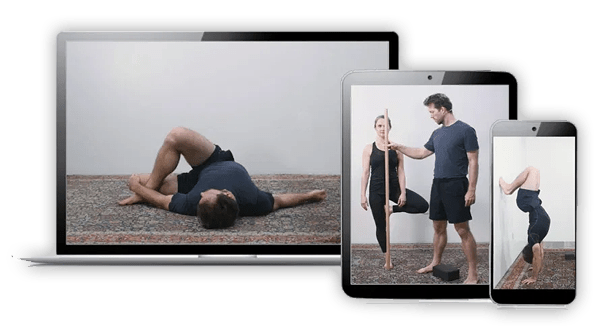 Yoga instructors on laptop, tablet and mobile device